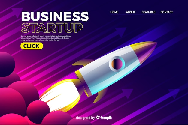 Company landing page with rocket