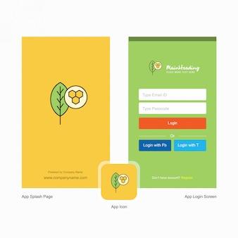 ロゴのテンプレートを持つ会社リーフスプラッシュ画面とログインページ。モバイルオンラインビジネステンプレート