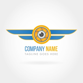 Company logo eye and blue wings
