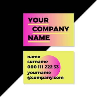Company logo gradient neon business cards