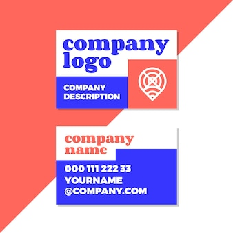 Company logo in neon colored business cards