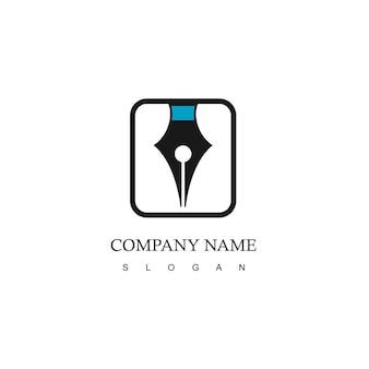 ペンのシンボルと会社のロゴ