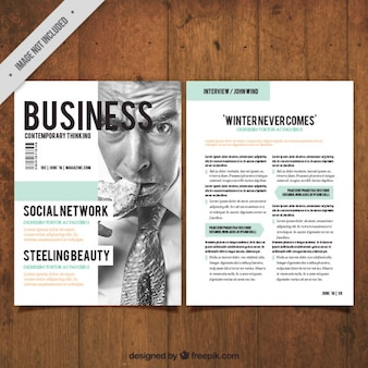 ビジネスマンの画像と会社の雑誌