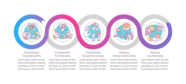 회사 주요 가치 infographic 템플릿입니다. 지속 가능성, 혁신 프레젠테이션 디자인 요소.