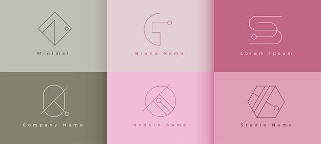 회사 최소한의 기하학적 모양 스타일 라인 로고 개념