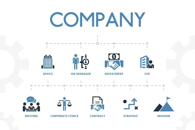 간단한 2색 아이콘이 있는 회사 현대적인 개념 템플릿입니다. 사무실, 투자, 회의, 계약 등과 같은 아이콘이 포함되어 있습니다.