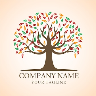 Company nature tree logo template autumn leaves