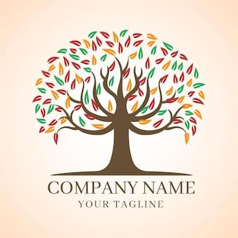 Компания природа дерево логотип шаблон осенние листья