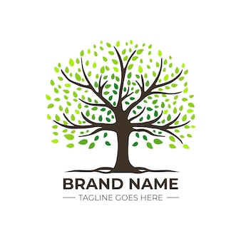 Company nature tree logo template gradient green coloured