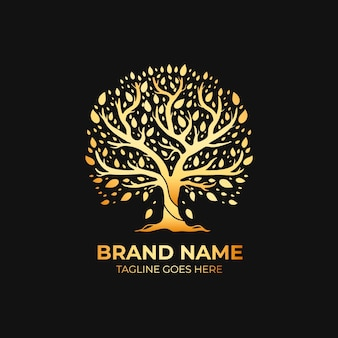 Company nature tree logo template luxury gold style