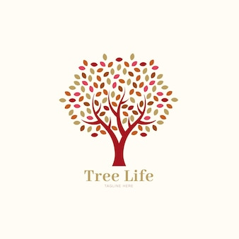 Company nature tree logo template spring leaves