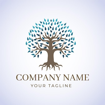 Company nature tree logo template winter leaves