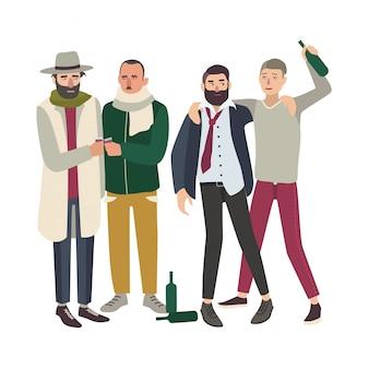 ボトルで酔った人の会社。一緒に飲む若者と大人のだらしない男。漫画のスタイルのカラフルなイラスト。