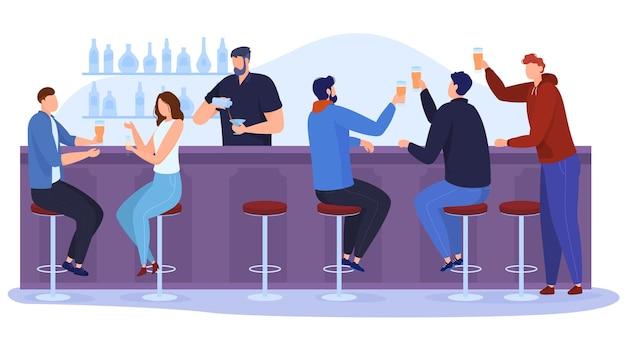 술집에서 축하하는 사람들의 회사