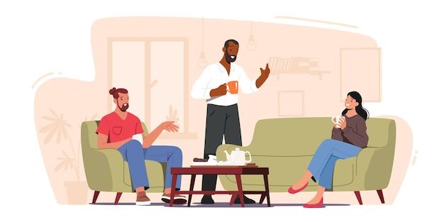 Компания молодых людей пьет чай, ест печенье, беседует