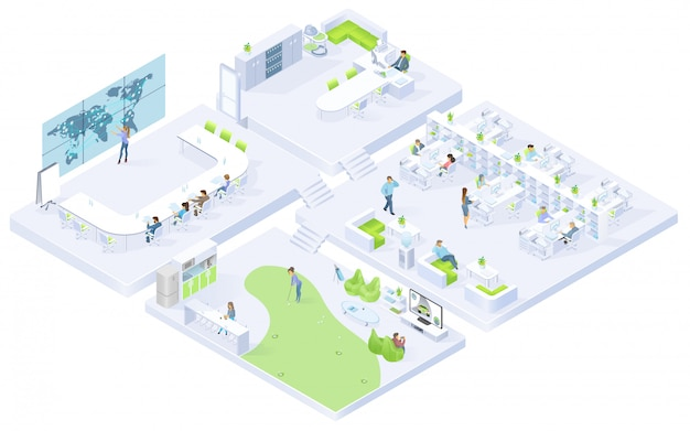 Company office rooms isometric vector interiors