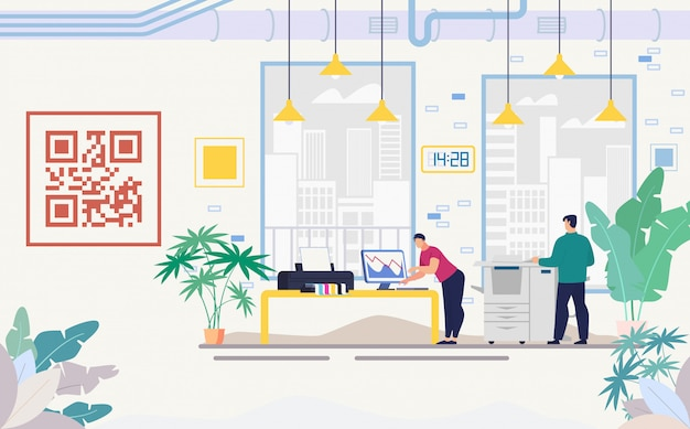 Company office with modern equipment flat vector