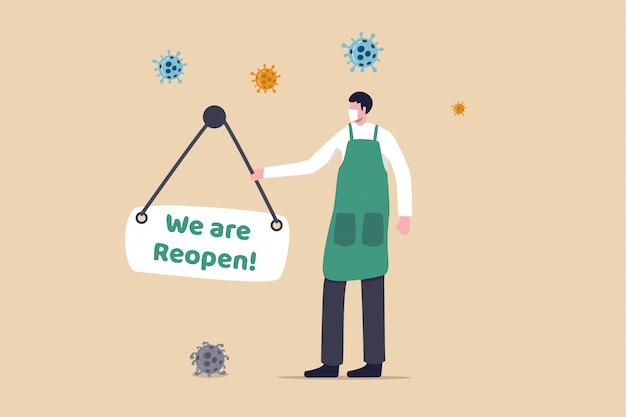 会社または起業家は、covid-19パンデミックコロナウイルス検疫ロックダウンコンセプト、ショップオーナーの男性がコロナウイルス病原体の看板を吊り下げた店頭の再開サインを着用した後に事業を再開しました。