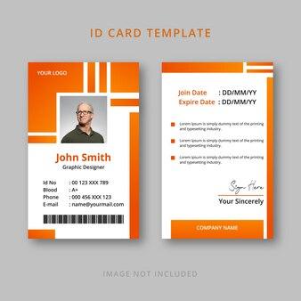 Company orange id card template