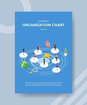 バナーやチラシのテンプレートの円の形に立っている会社の組織図