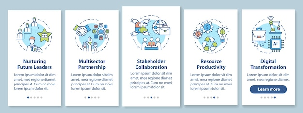 Company performance improvement onboarding mobile app page screen with concepts. responsible business walkthrough  steps graphic instructions. ui  template with rgb color illustrations