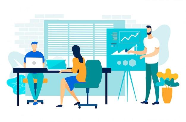 Company performance report vector illustration.