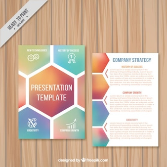 Company  presentation template with hexagons