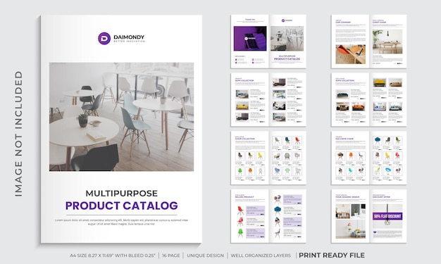 Company product catalog design template or multipurpose product brochure