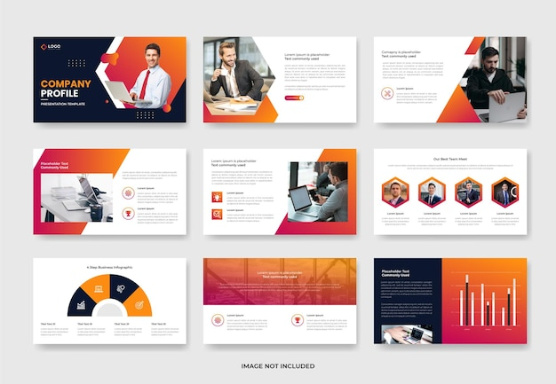 会社概要とビジネスプロジェクト提案プレゼンテーションスライドテンプレートデザイン