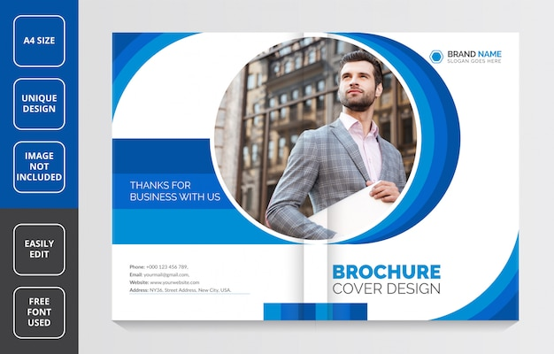 Company profile brochure cover design, modern business brochure template