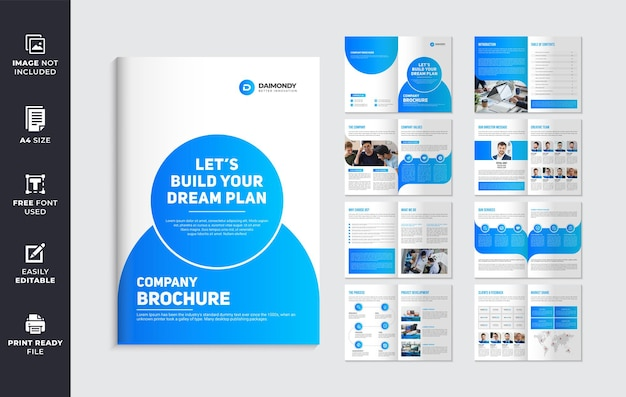 Company profile brochure template design with blue color shapes
