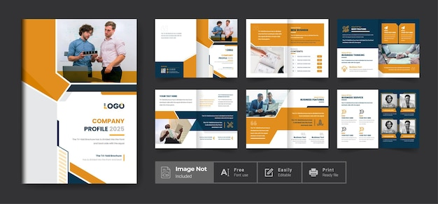 Company profile brochure template layout design or business brochure theme