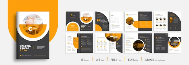 Company profile brochure template layout design, orange color shape minimalist business brochure template design