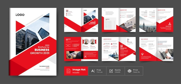 Company profile brochure template layout design red color modern shape minimalist business brochure