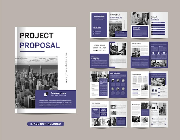 Company profile brochure template layout design with cover page premium vector