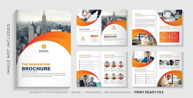 Company profile brochure template layout or orange color shapes company brochure template design