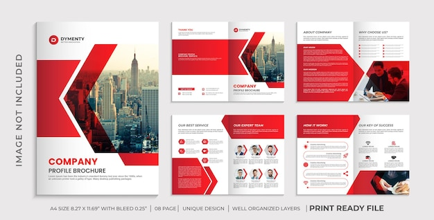 Шаблон брошюры профиля компании, дизайн многостраничной брошюры
