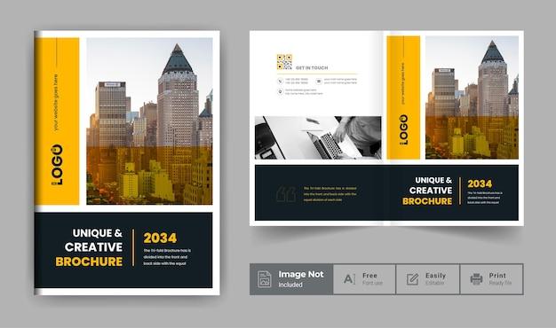 Шаблон брошюры профиля компании или желто-черная тема обложки современной бизнес-брошюры