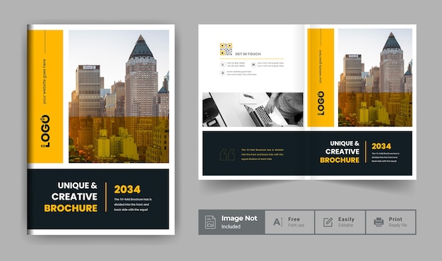Company profile brochure template or yellow and black modern business brochure cover page theme