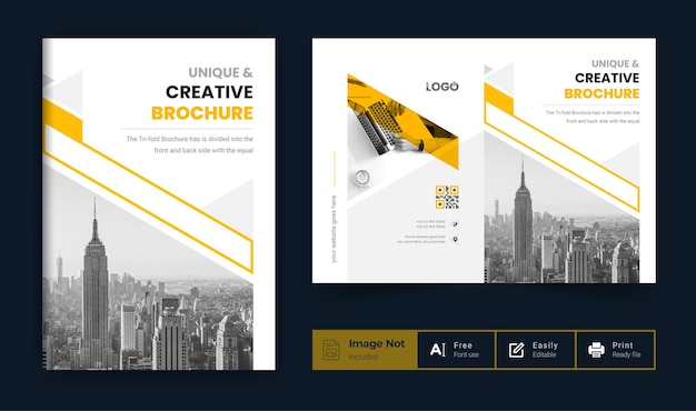 Company profile brochure template or yellow color modern business brochure cover page theme