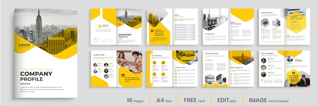 Company profile template design with yellow color shapes, multipage brochure design