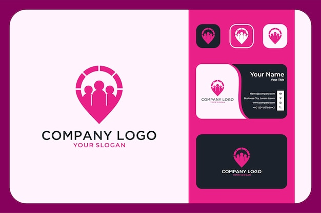Company profile with location logo design and business card