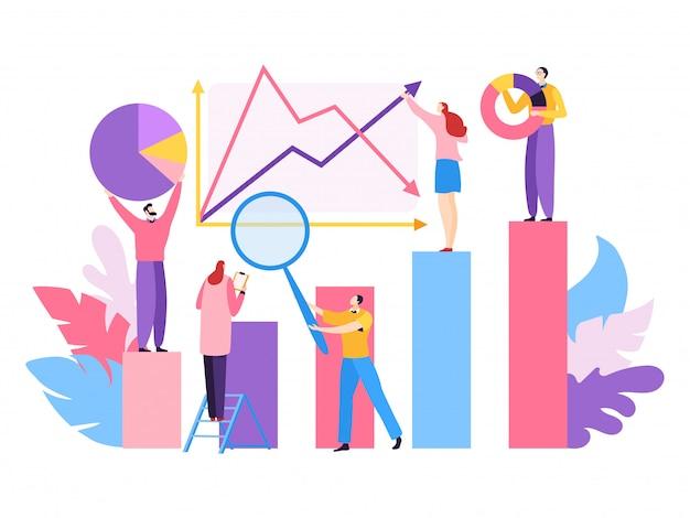 Проект компании большие данные, иллюстрация. аналитическая работа в команде людей характер для успешного маркетинга, финансового роста