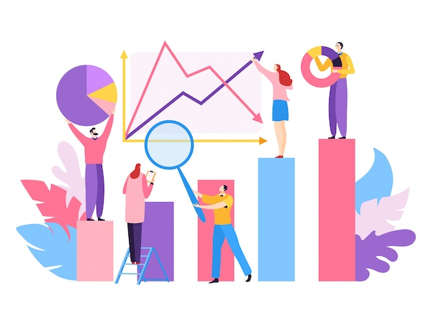 Company project big data,  illustration. analytic teamwork people character for successfull marketing, financial growth