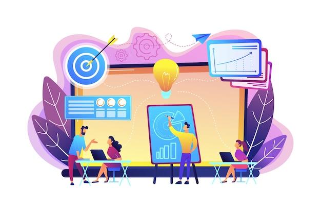 管理研修とオフィススペースを提供する会社。ビジネスインキュベーター、ビジネストレーニングプログラム、共有管理サービスの概念。明るく鮮やかな紫の孤立したイラスト