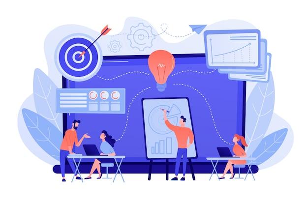 管理研修とオフィススペースを提供する会社。ビジネスインキュベーター、ビジネストレーニングプログラム、共有管理サービスの概念