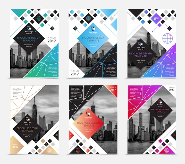 Company report brochure covers set flat isolated vector illustration