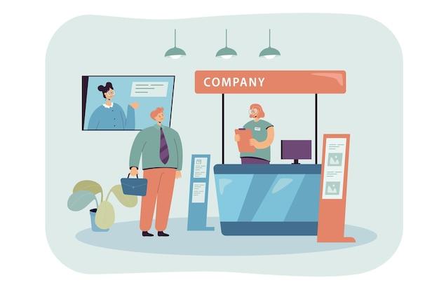 Company representative clerk talking with businessman