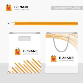 Company shopping bags design vector