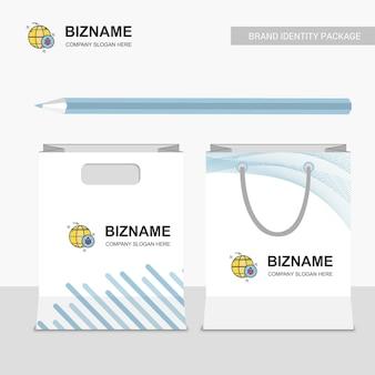 Company shopping bags design with bug logo vector